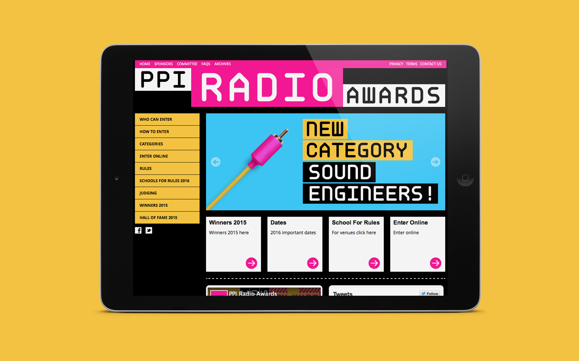PPI Radio Awards web design